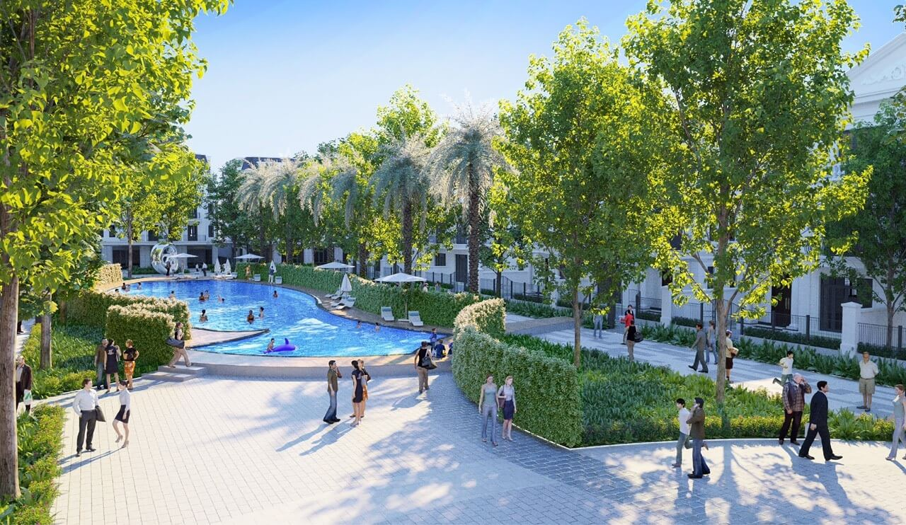 Bể bơi nội khu tại Eurowindow Twin Parks Gia Lâm.