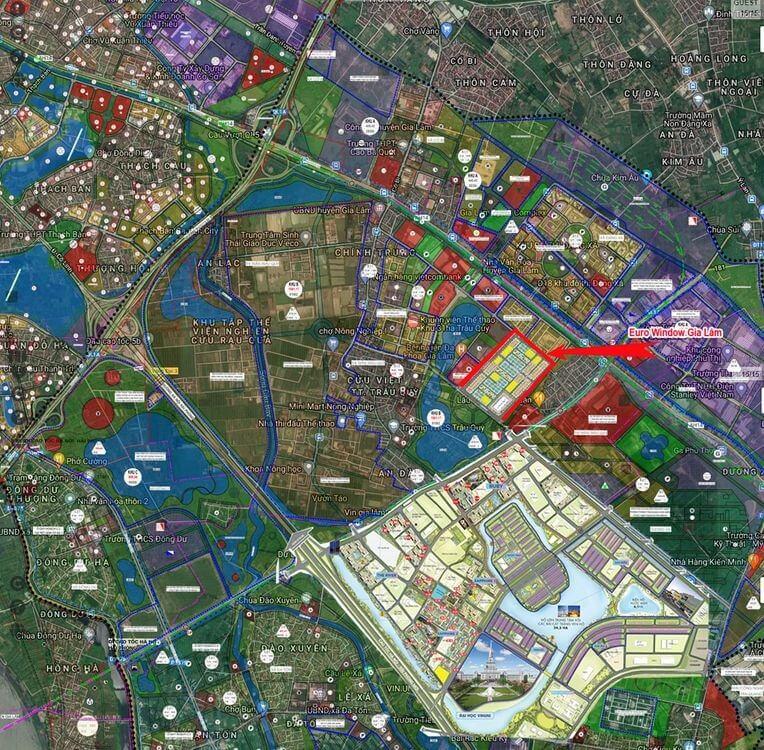 Phối cảnh vị trí Eurowindow Twin Parks Gia Lâm và quy hoạch tổng thể khu vực.