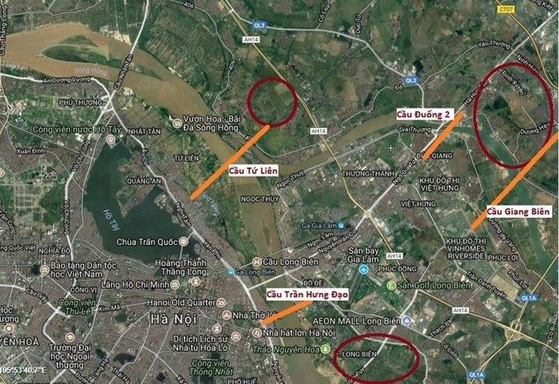 lộ trình các cây cầu lớn mà Hà Nội sẽ làm thời gian tới.