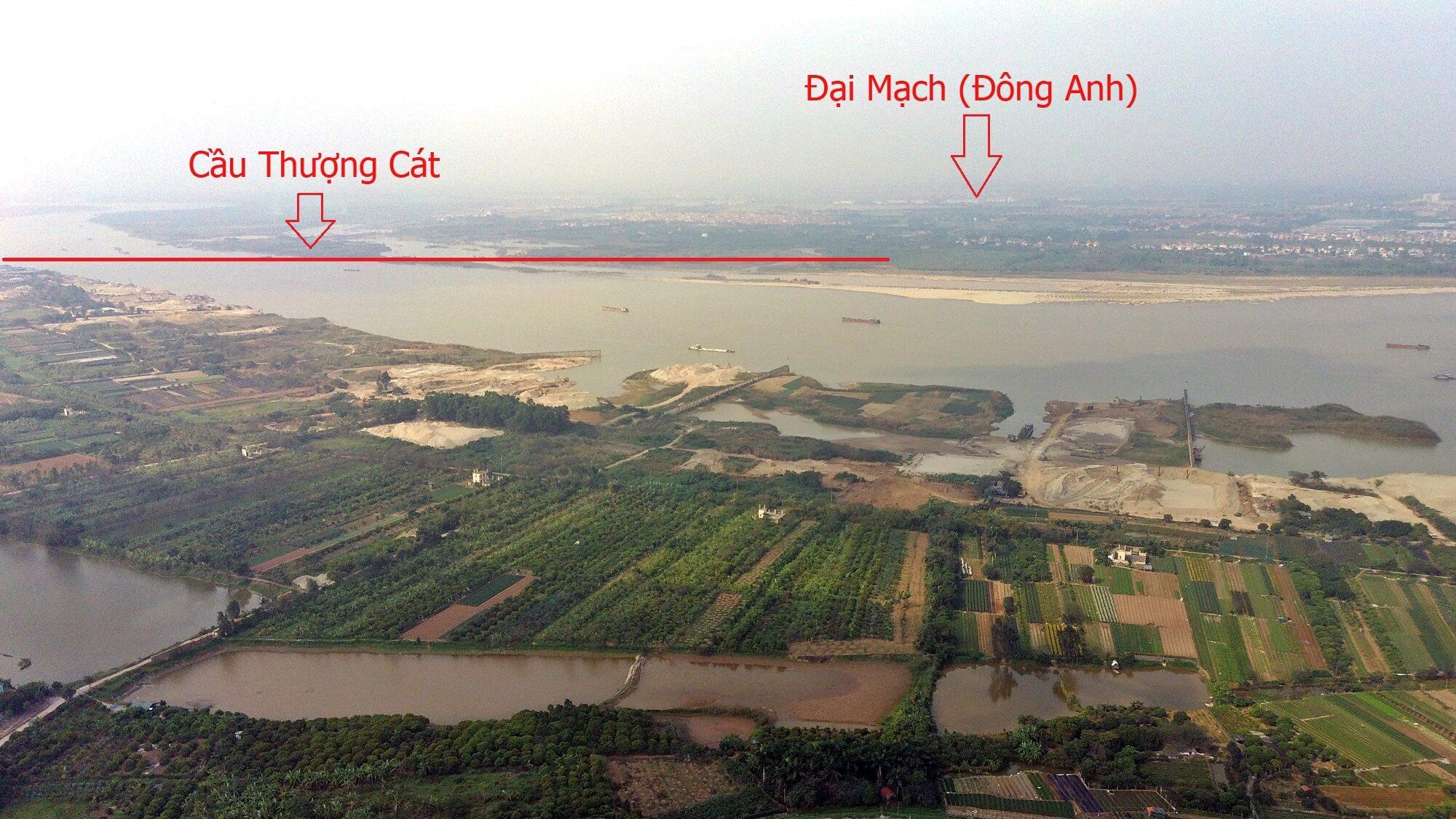 Mô tả lộ trình của cầu Thượng Cát sang khu vực Đông Anh.