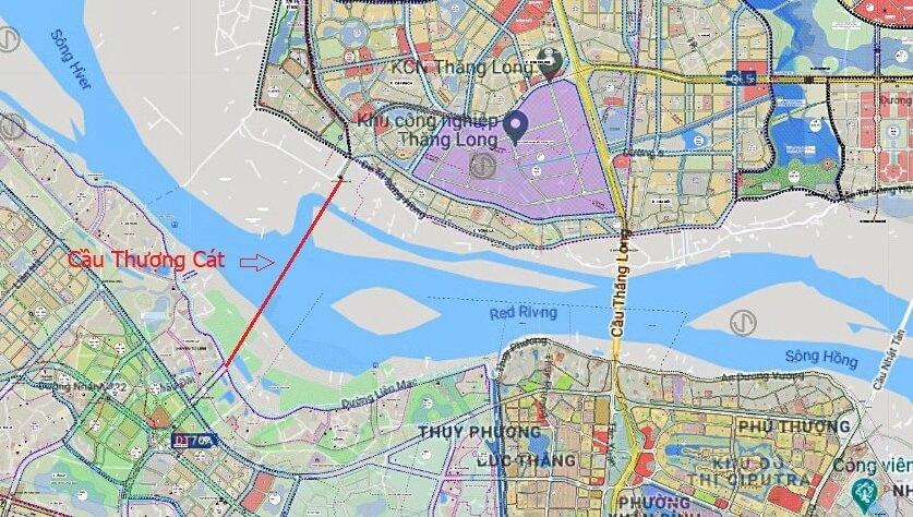 Vị trí cầu Thượng Cát theo quy hoạch của thành phố.