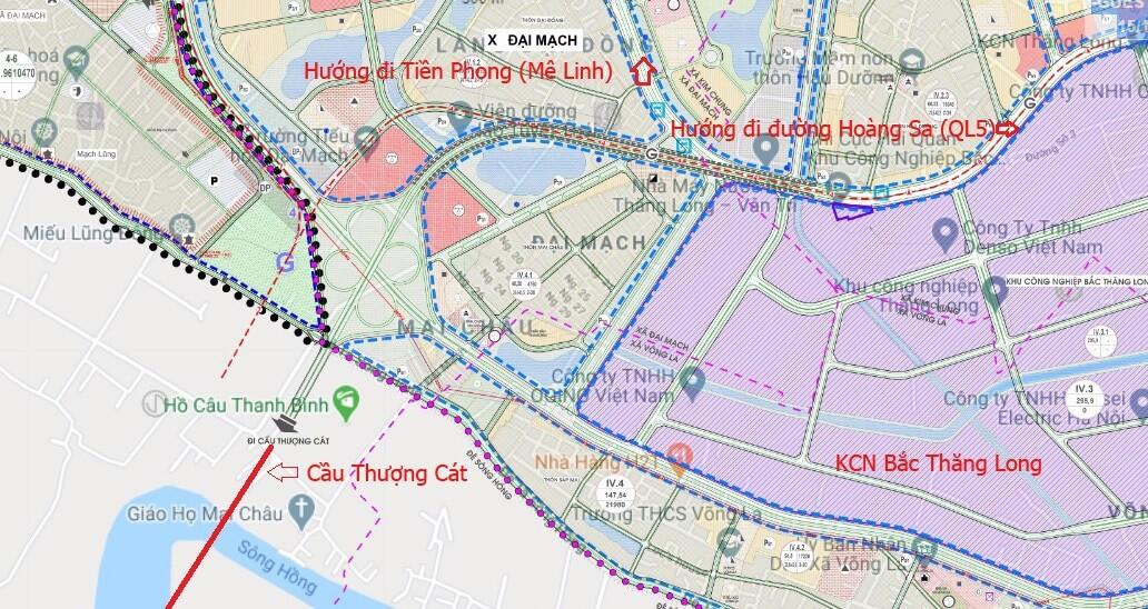 Hình ảnh đoạn cầu Thượng Cát và đường vành đai 3,5 trên địa bàn huyện Đông Anh.