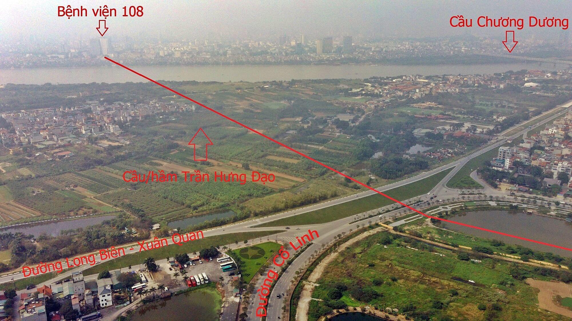 Vị trí hầm/cầu Trần Hưng Đạo nhìn từ phía đường Cổ Linh.