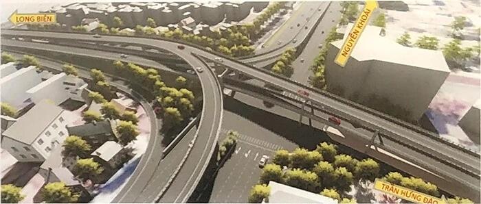 Nút giao cầu Trần Hưng Đạo với đường Nguyễn Khoái.