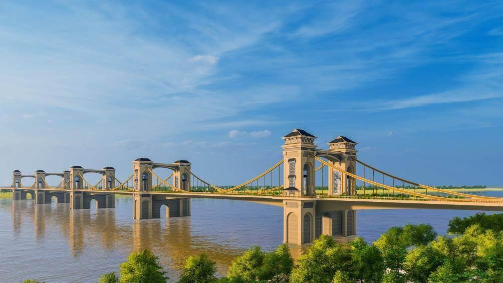 Cầu Trần Hưng Đạo thiết kế với 5 nhịp dây võng.