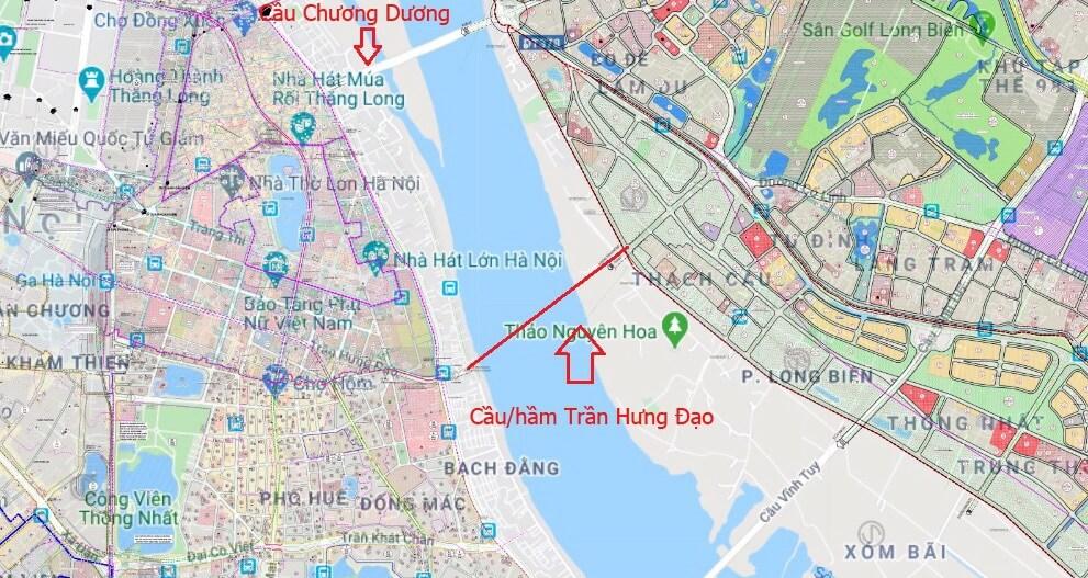 Vị trí của dự án cầu/hầm Trần Hưng Đạo theo quy hoạch!