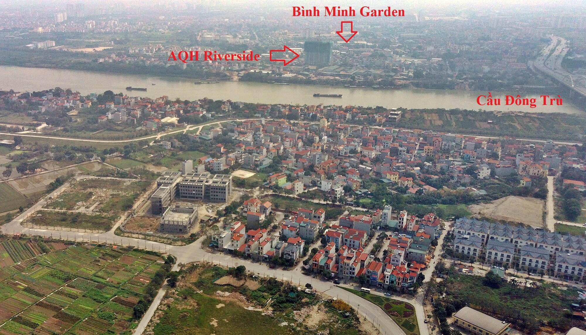 Hình ảnh thực tế vị trí của Bình Minh Garden và AQH Riverside.