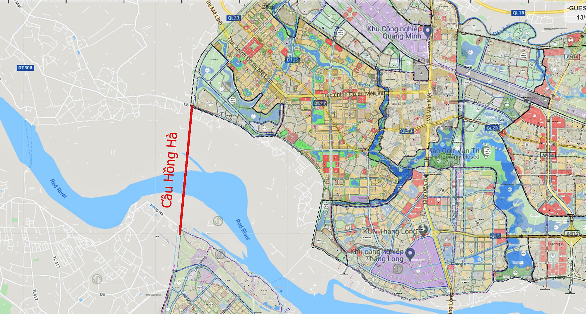 Bản đồ vị trí làm cầu Hồng Hà.