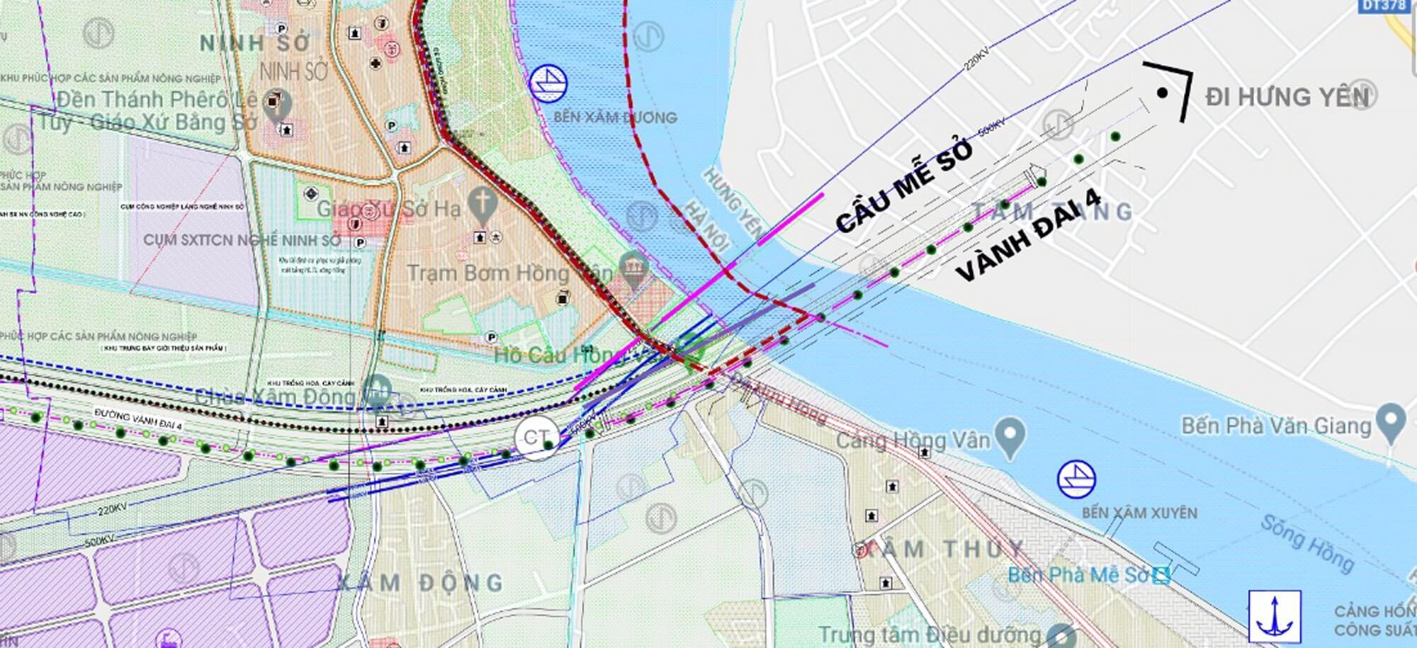 Cầu Mễ Sở sẽ nối huyện Thường Tín, Hà Nội với huyện Văn Giang, Hưng Yên.
