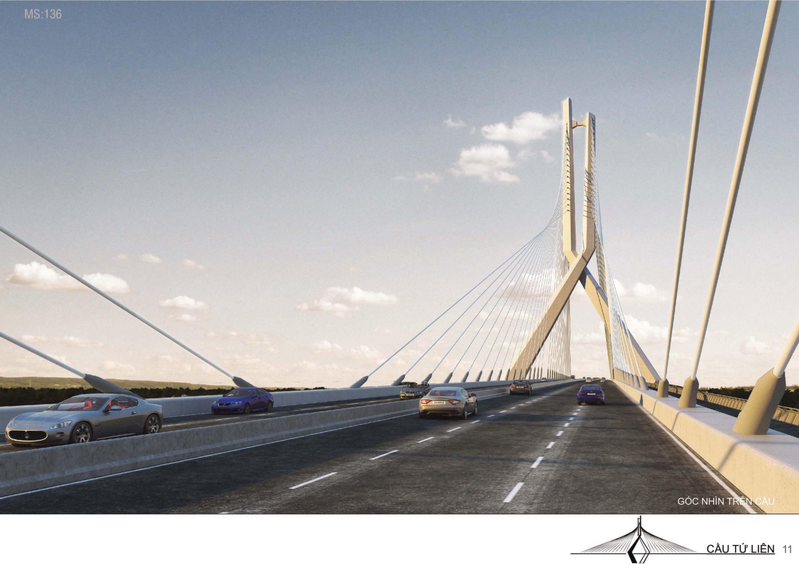 Trục đường giao thông trên cầu Tứ Liên.