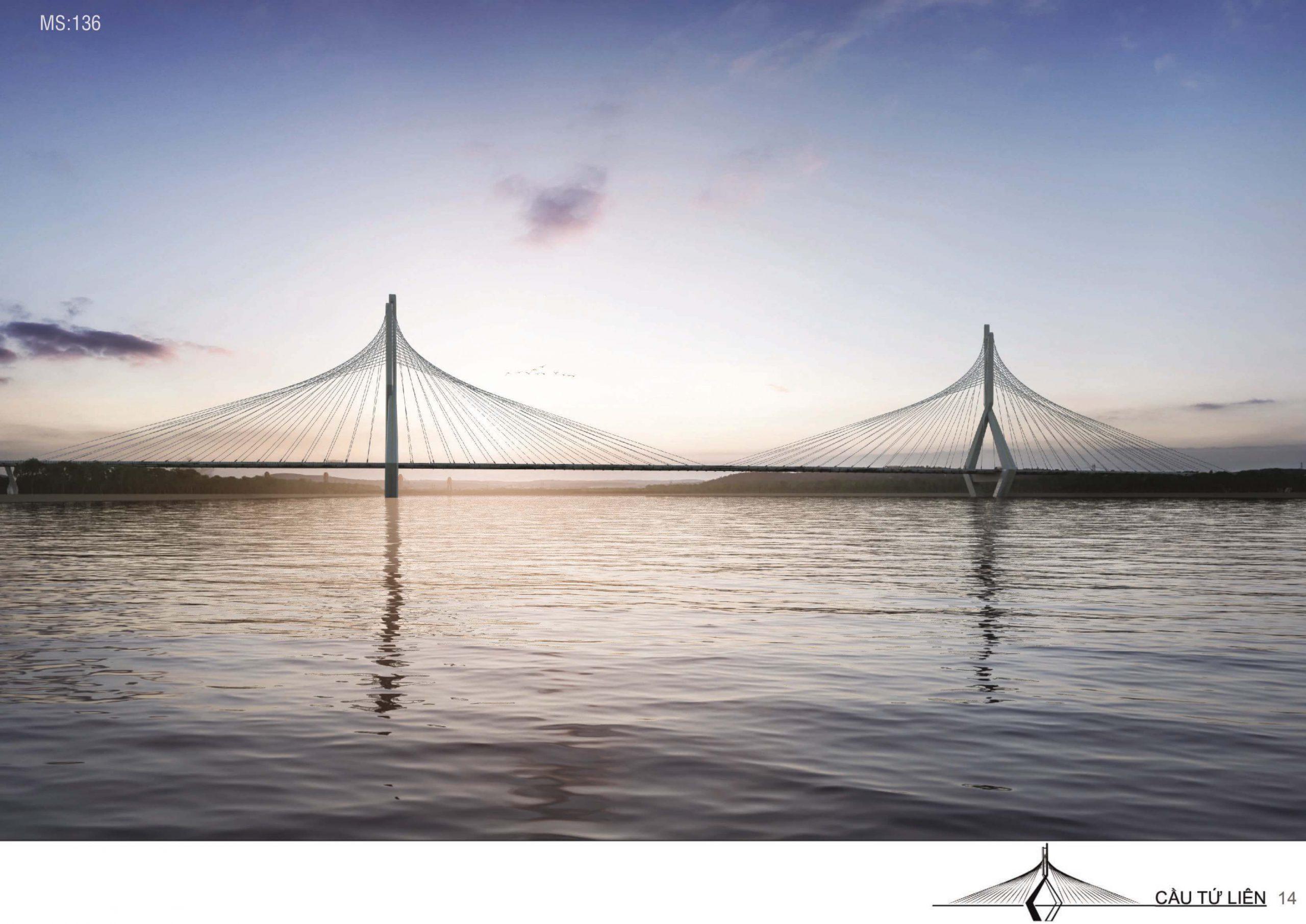Cầu Tứ Liên tuyệt đẹp dưới ánh hoàng hôn.