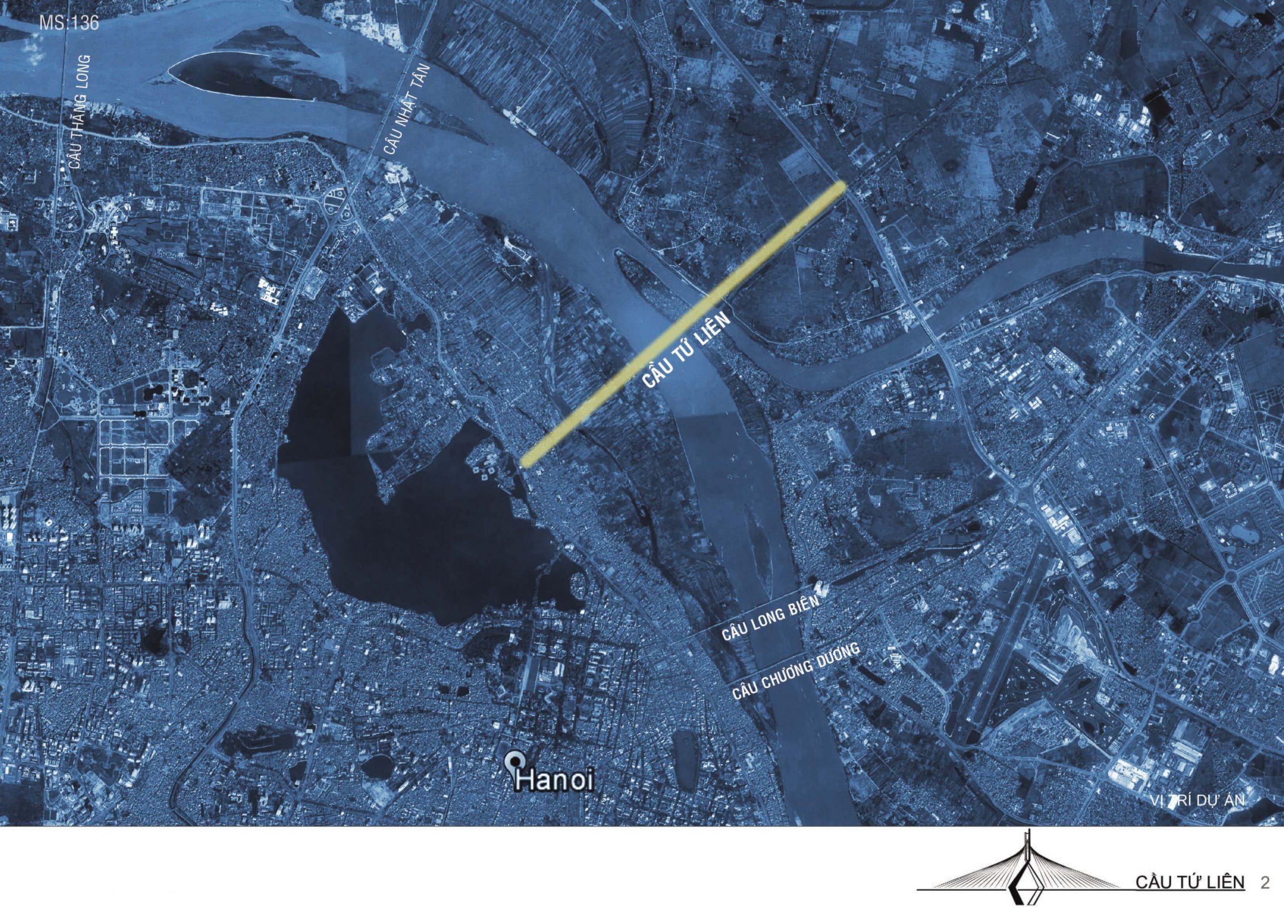Vị trí giao thông của cầu Tứ Liên.