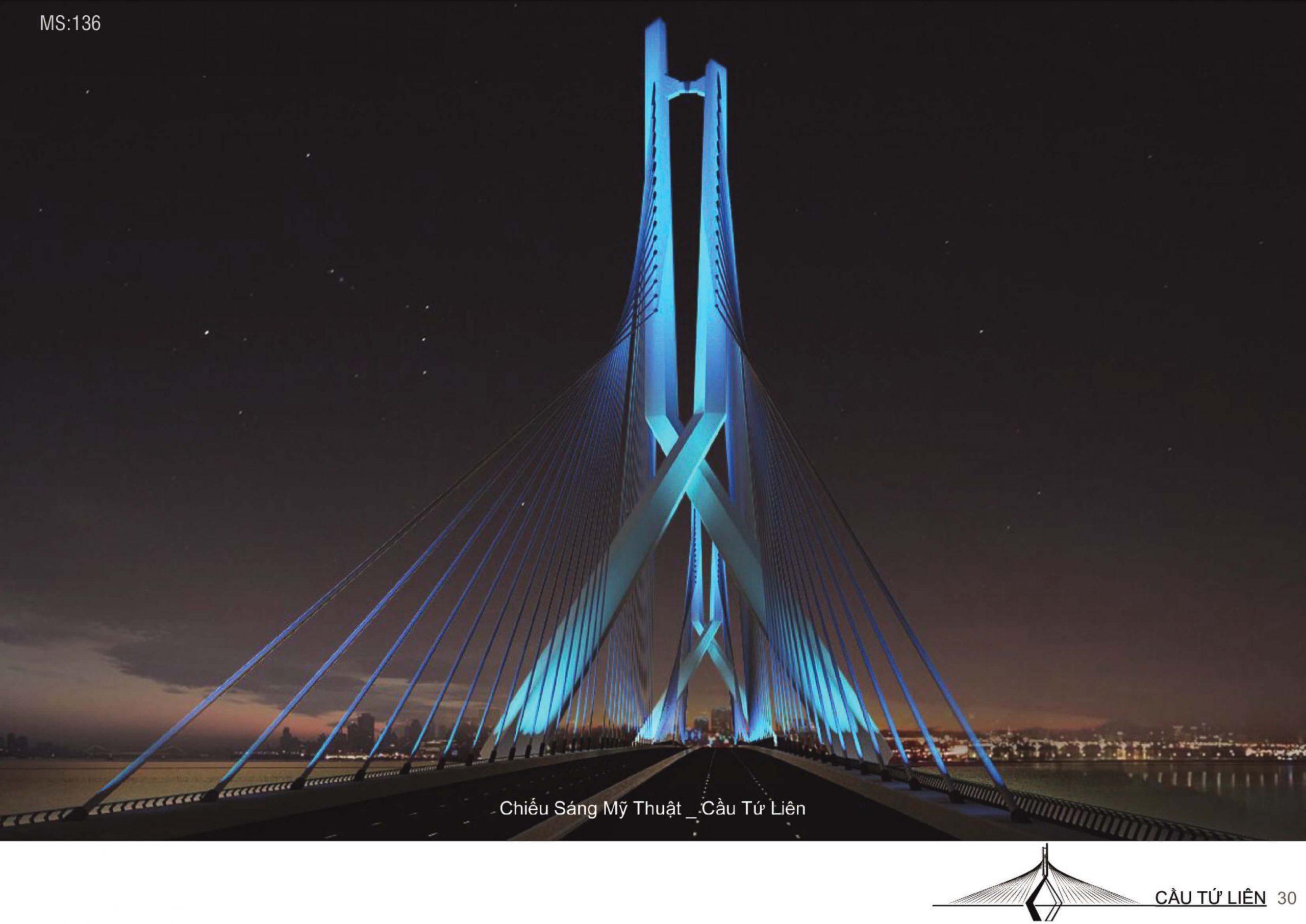 Cầu Tứ Liên dưới ánh sáng xanh huyền ảo.