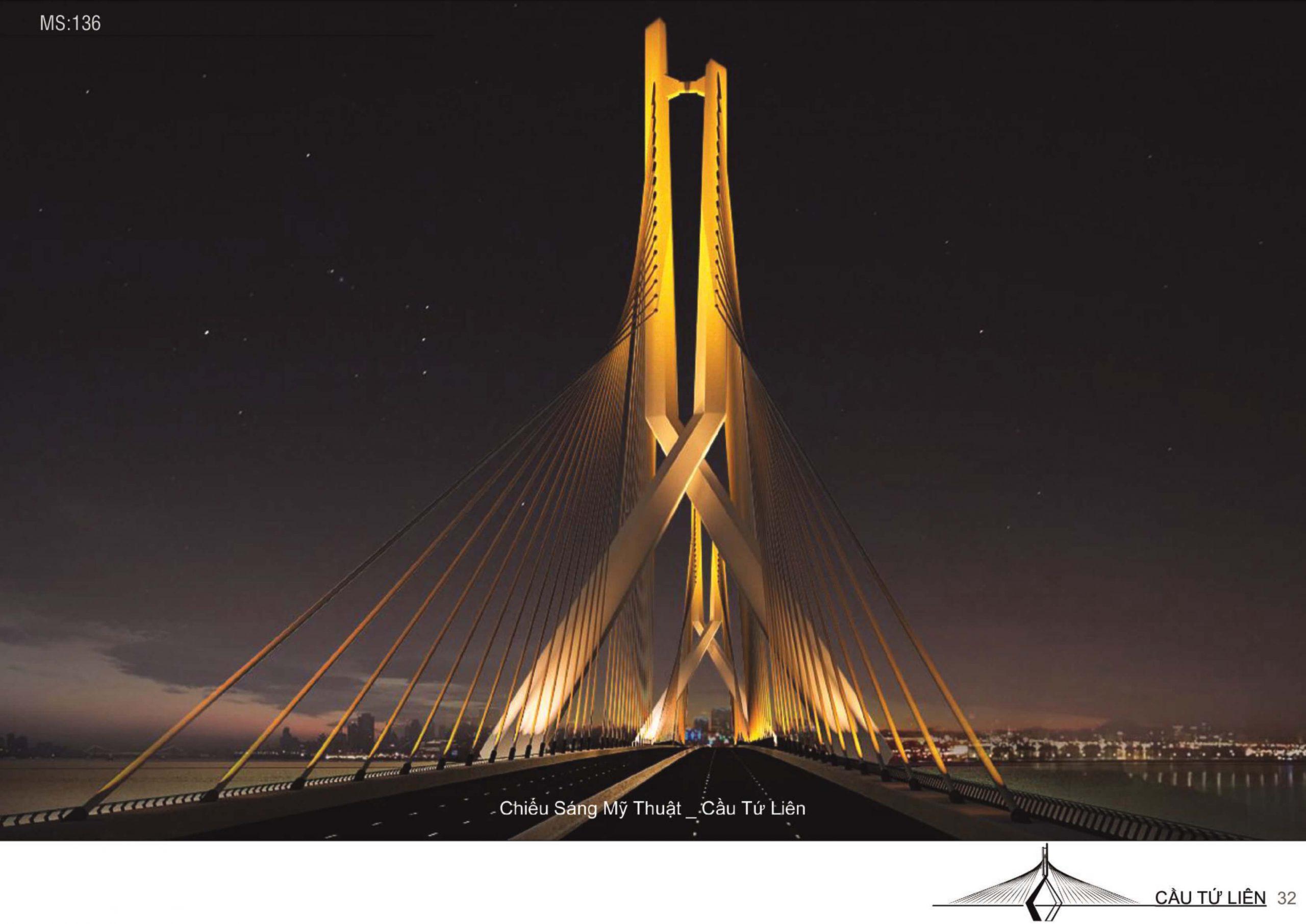 Cầu Tứ Liên dưới ánh vàng rực rỡ.