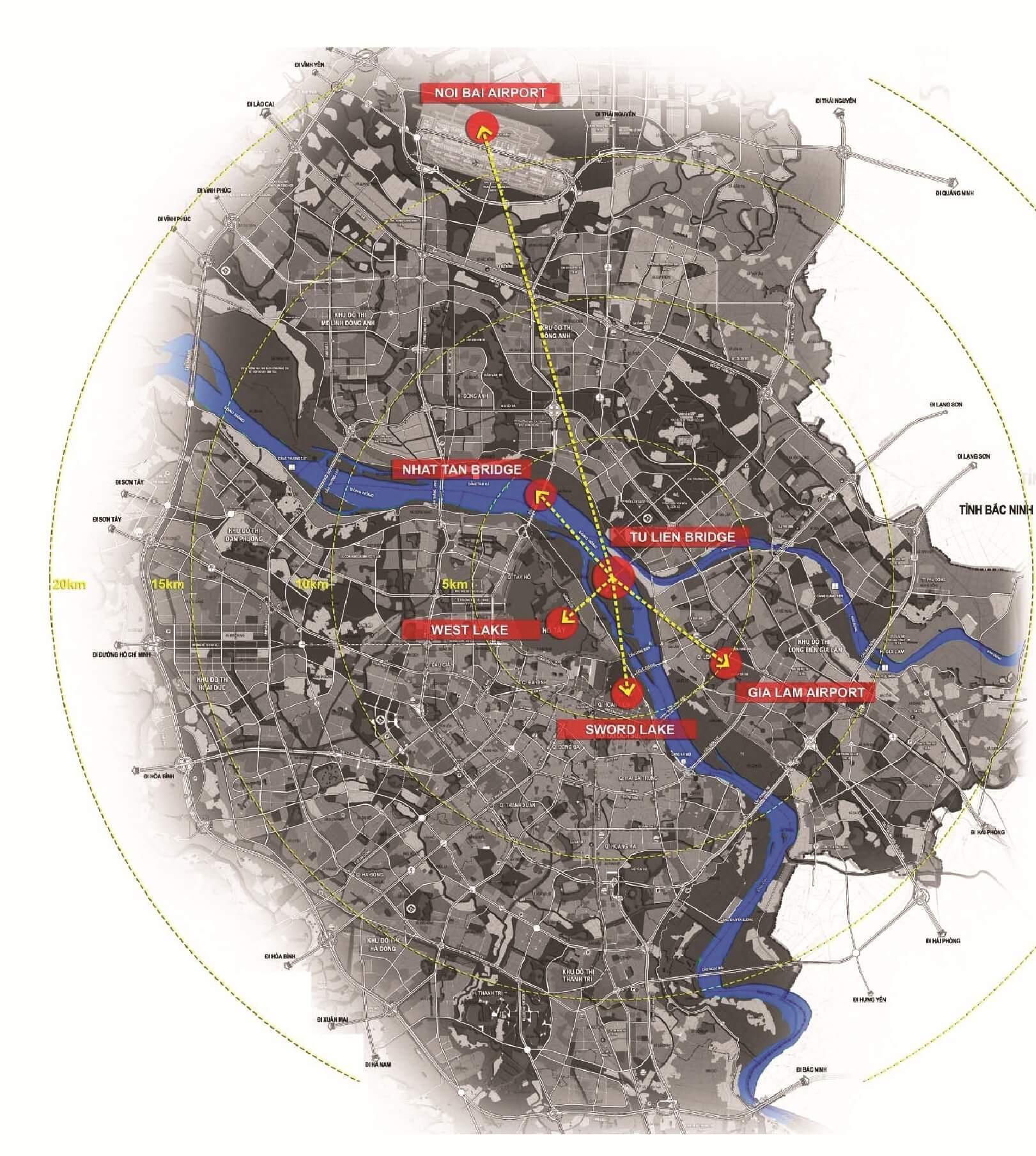 Kết nối vùng của cầu Tứ Liên.