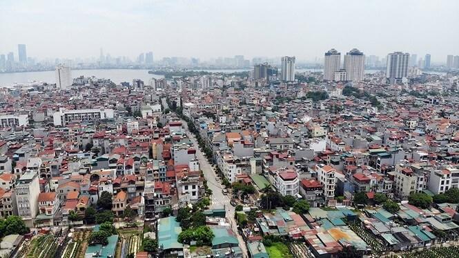 Hình ảnh khu vực quận Tây Hồ nhìn từ sông Hồng.