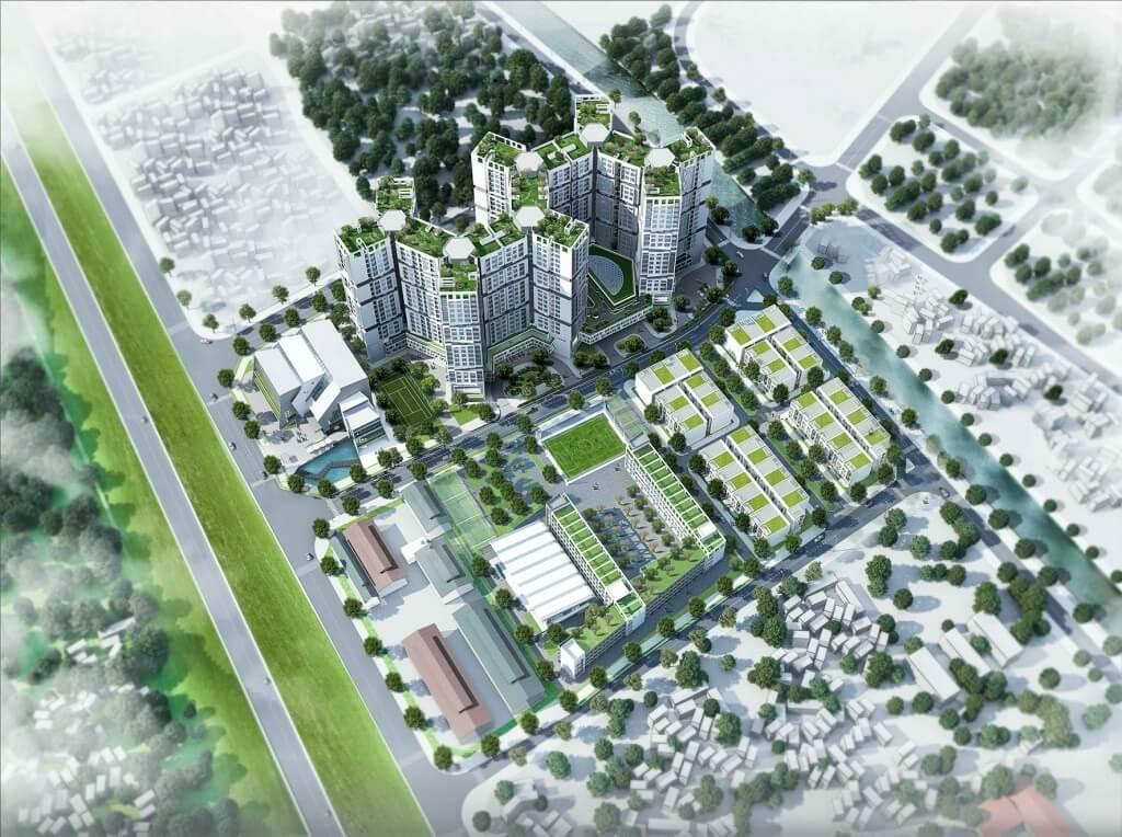 Tổng thể dự án chung cư nhà máy hóa chất Đức Giang.