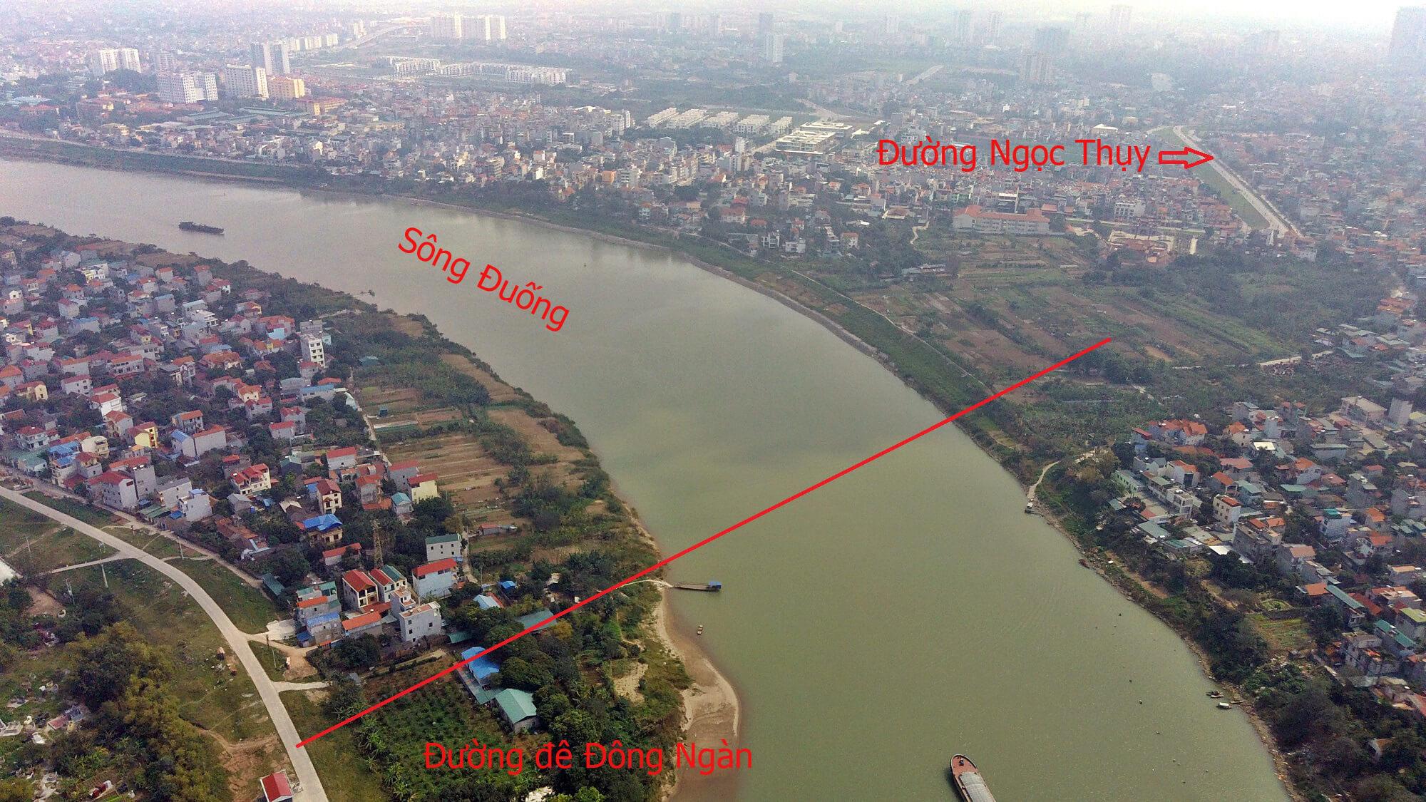 Lộ trình cây cầu bắc từ Ngọc Thụy qua Đông Ngàn.