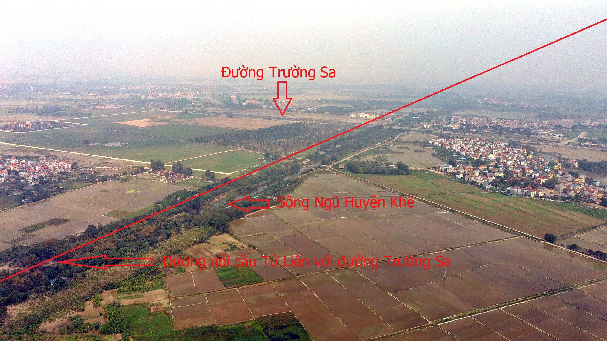Đường dẫn của cầu Tứ Liên chạy thẳng đến cao tốc Hà Nội - Thái Nguyên và cắt ngang đường Trường Sa.