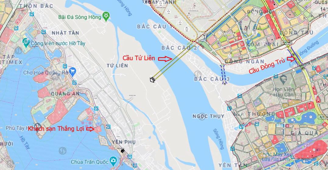 Cầu Tứ Liên bắc từ Nghi Tàm, Tây Hồ sang xã Đông Hội, Đông Anh.