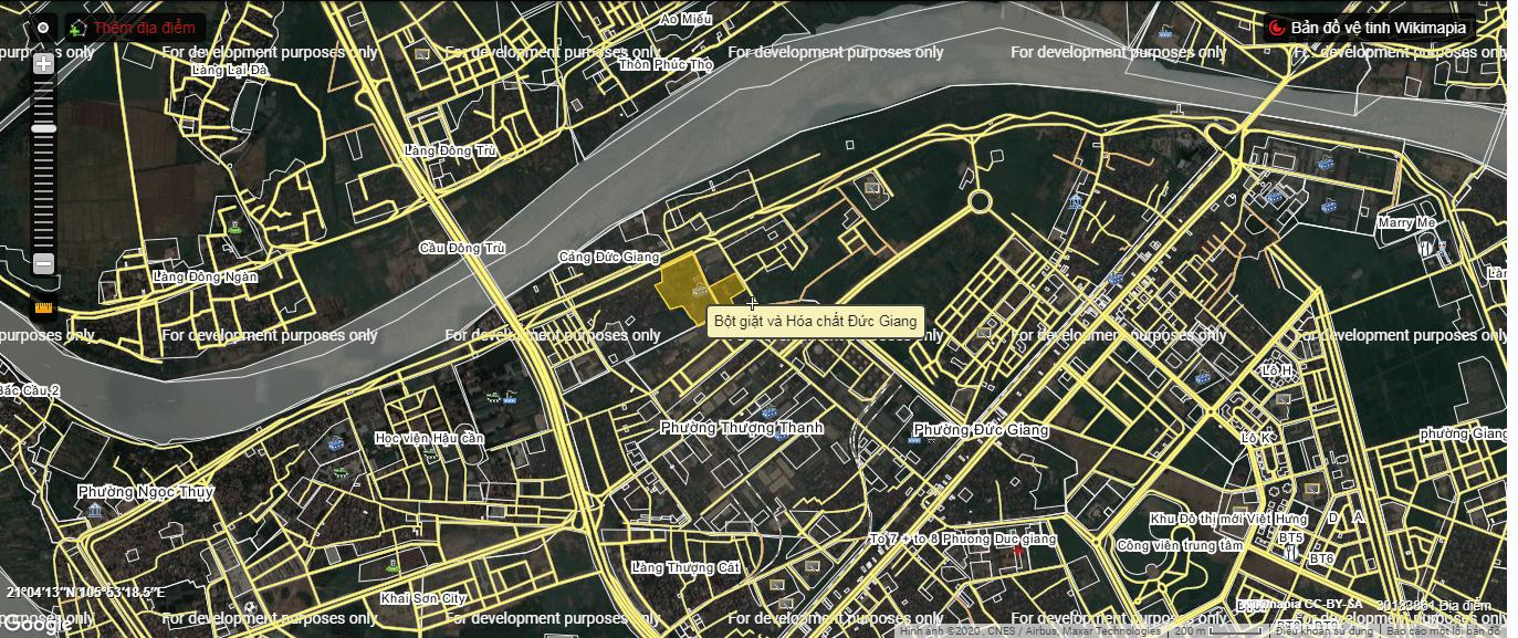 Vị trí dự án chung cư nhà máy hóa chất Đức Giang.