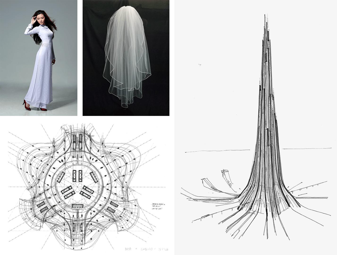 Ý tưởng thiết kế tháp tài chính Phương Trạch Tower lấy từ tà áo dài Việt Nam.