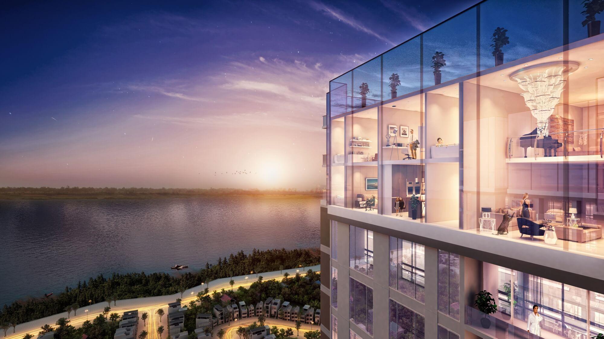 Căn hộ Sun Group Quảng An có tầm nhìn tuyệt đẹp view 3 mặt hồ Tây.