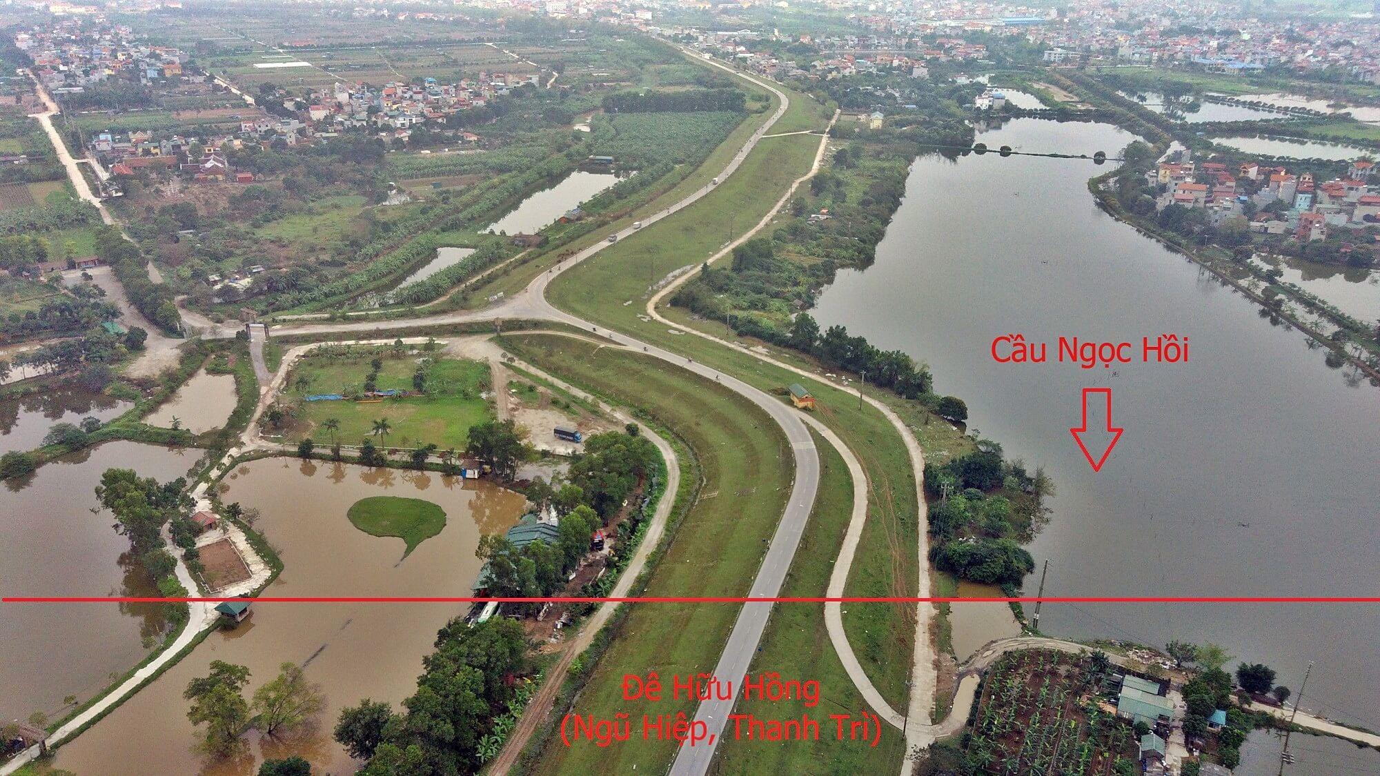 Nút giao đường dẫn cầu Ngọc Hồi với sông Hồng thuộc địa bàn Ngũ Hiệp, Thanh Trì.