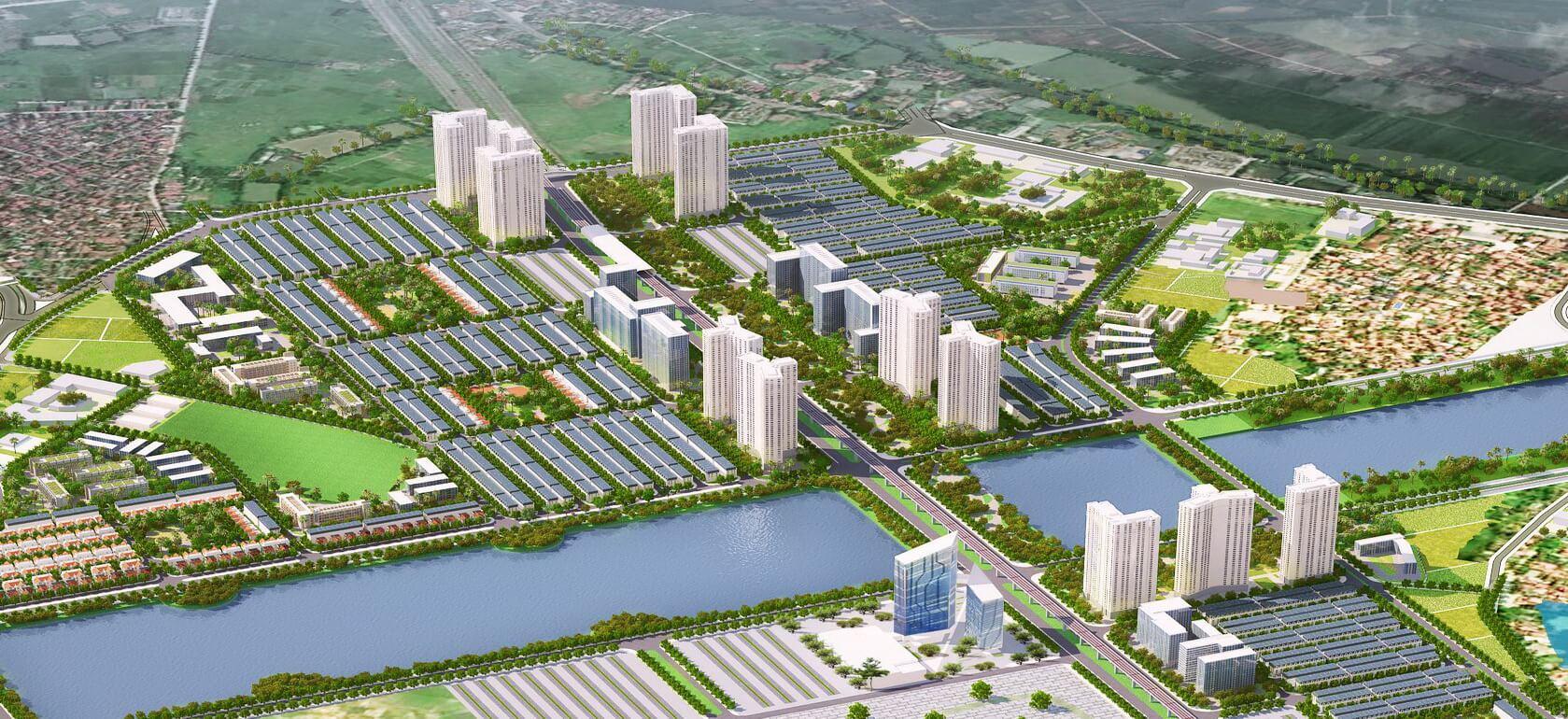 Phân khu cao tầng, thấp tầng, mặt nước bên trong tổng thể của dự án.