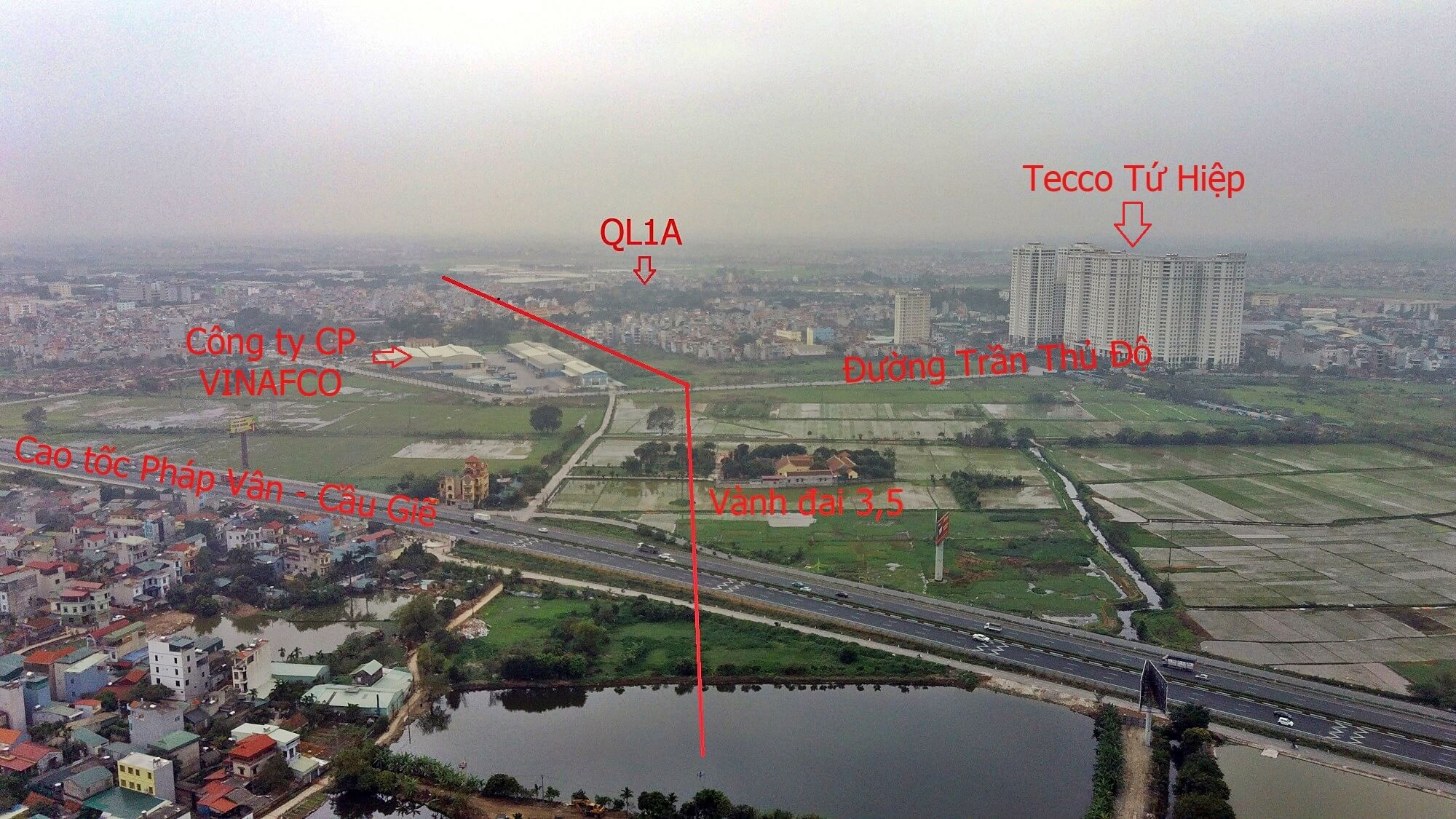 Tecco Tứ Hiệp nằm gần trục đường vành đai 3,5 và các điểm giao cắt.