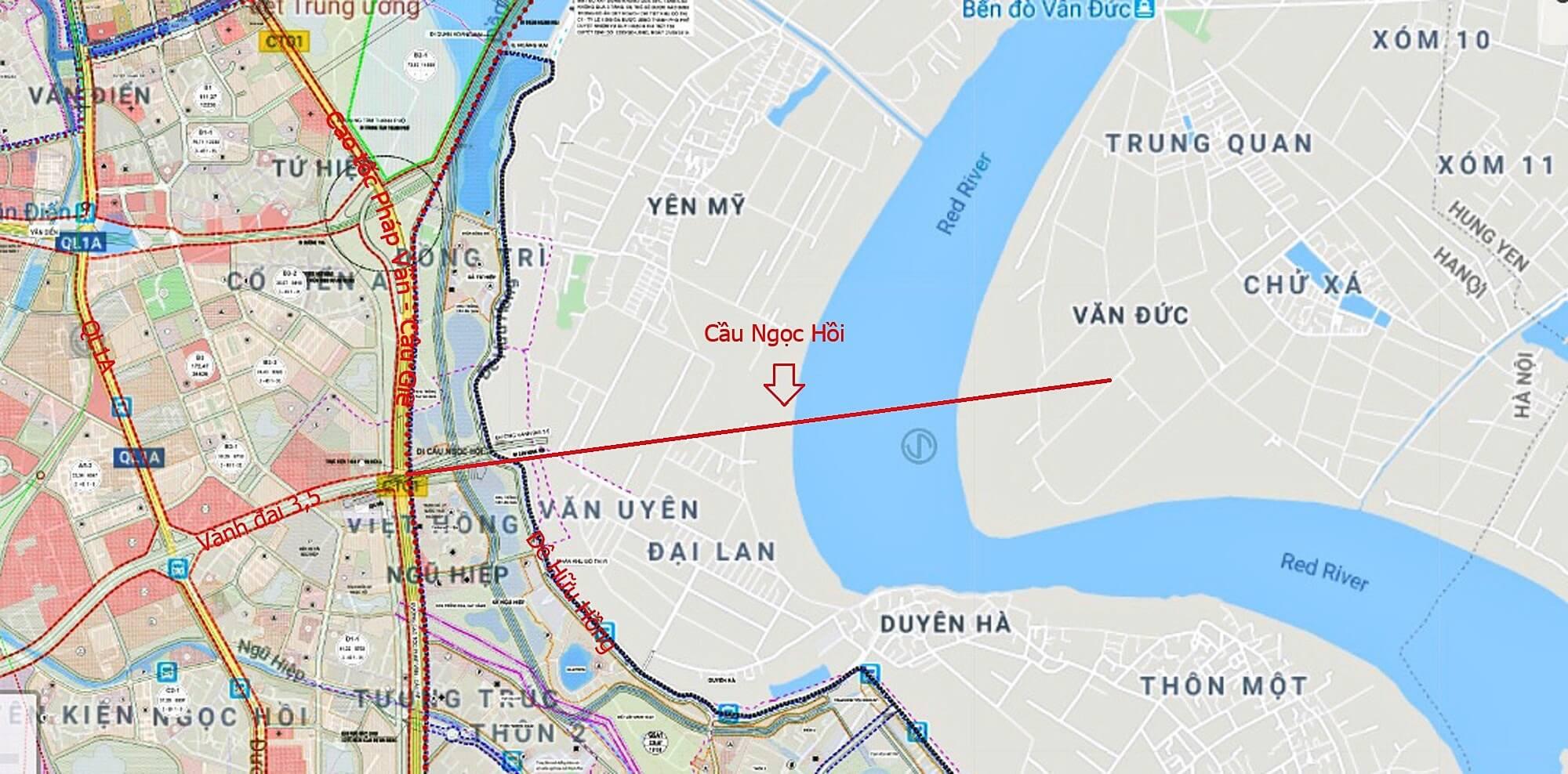 Bản đồ vị trí cầu Ngọc Hồi theo quy hoạch.