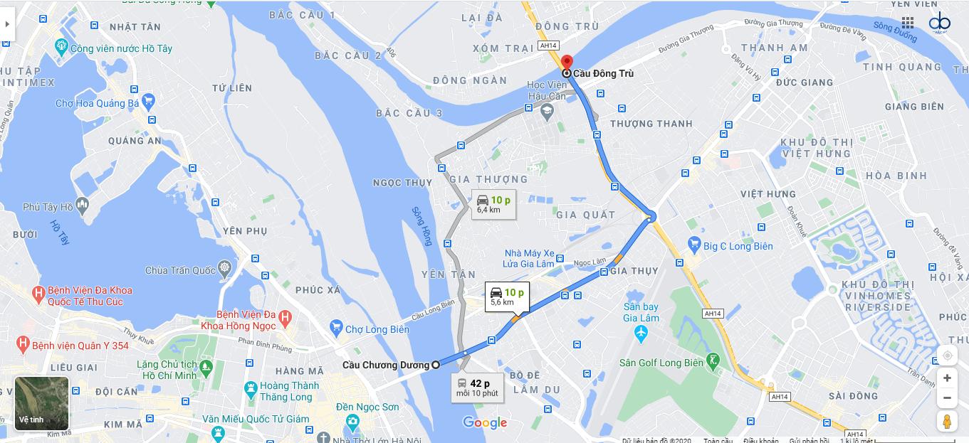 Lộ trình đi từ cầu Chương Dương đến cầu Đông Trù.