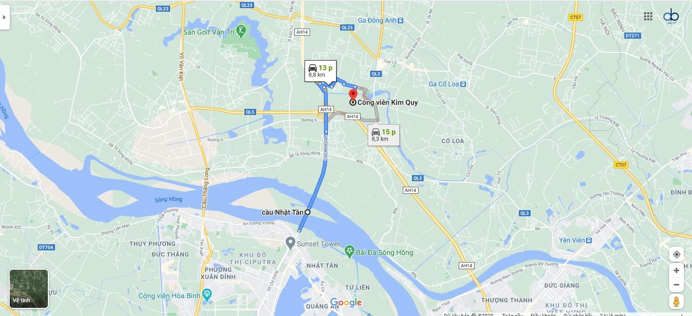 Đường từ cầu Nhật Tân đến công viên Kim Quy.