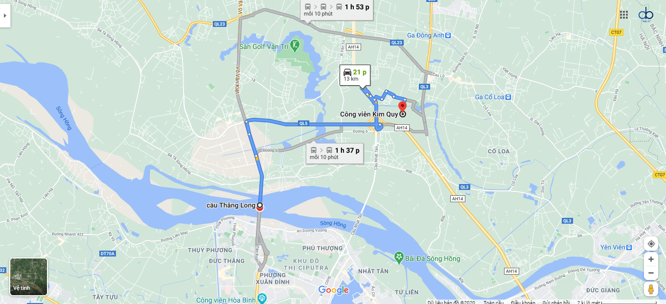 Đường từ cầu Thăng Long đến công viên Kim Quy.
