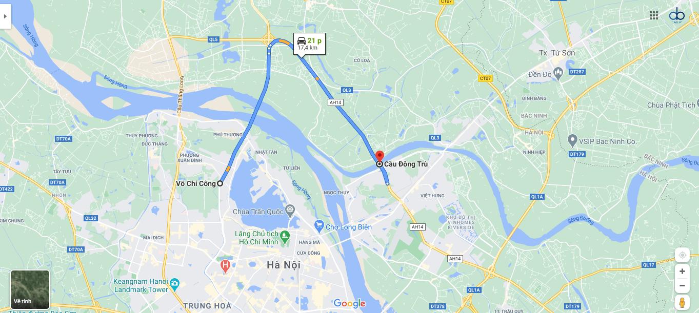 Lộ trình đi từ đường Võ Chí Công đến cầu Đông Trù.
