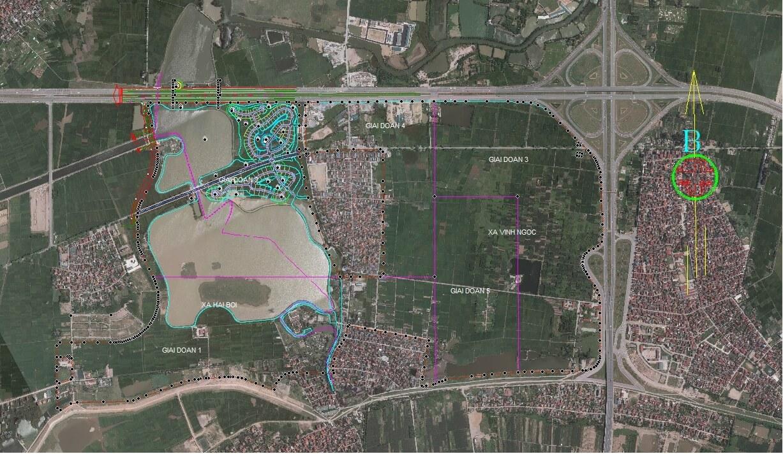 Vị trí tổng thể của dự án thành phố thông minh Đông Anh.