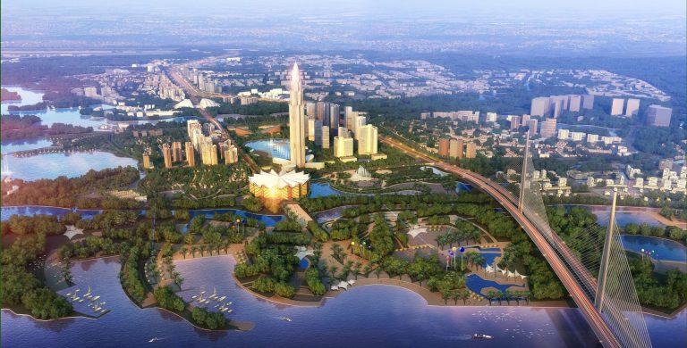 Phối cảnh tổng thể của dự án thành phố thông minh Đông Anh ( Smart City ).