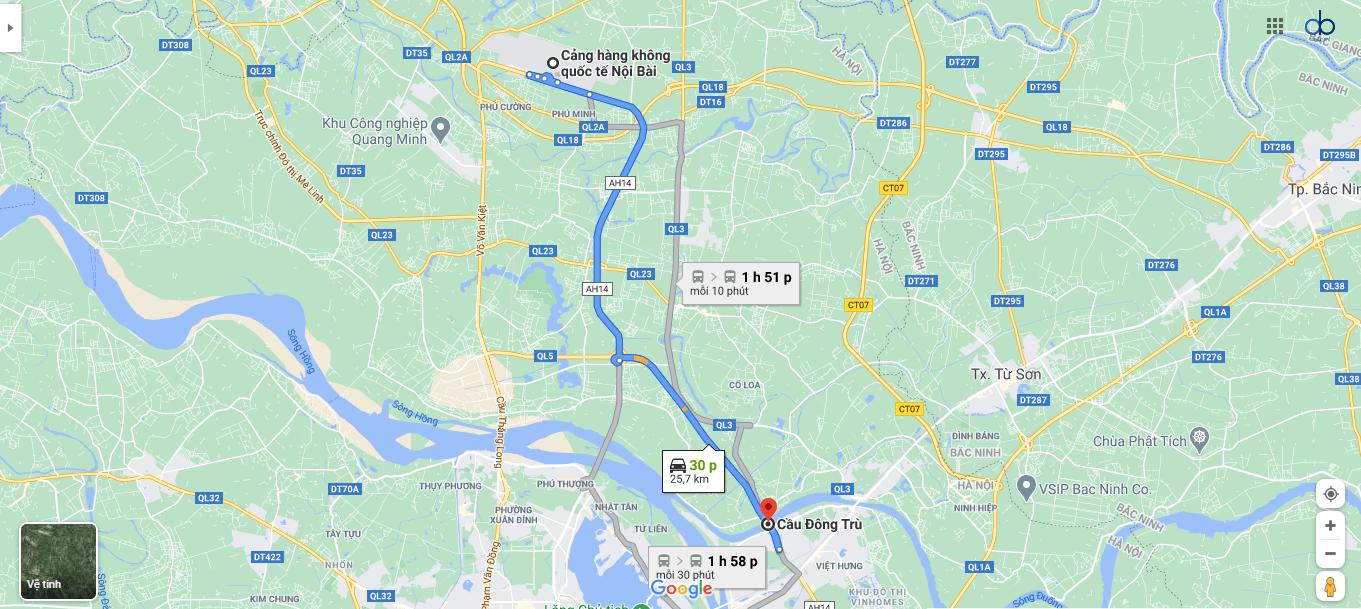 Lộ trình đi từ sân bay Nội Bài đến cầu Đông Trù.