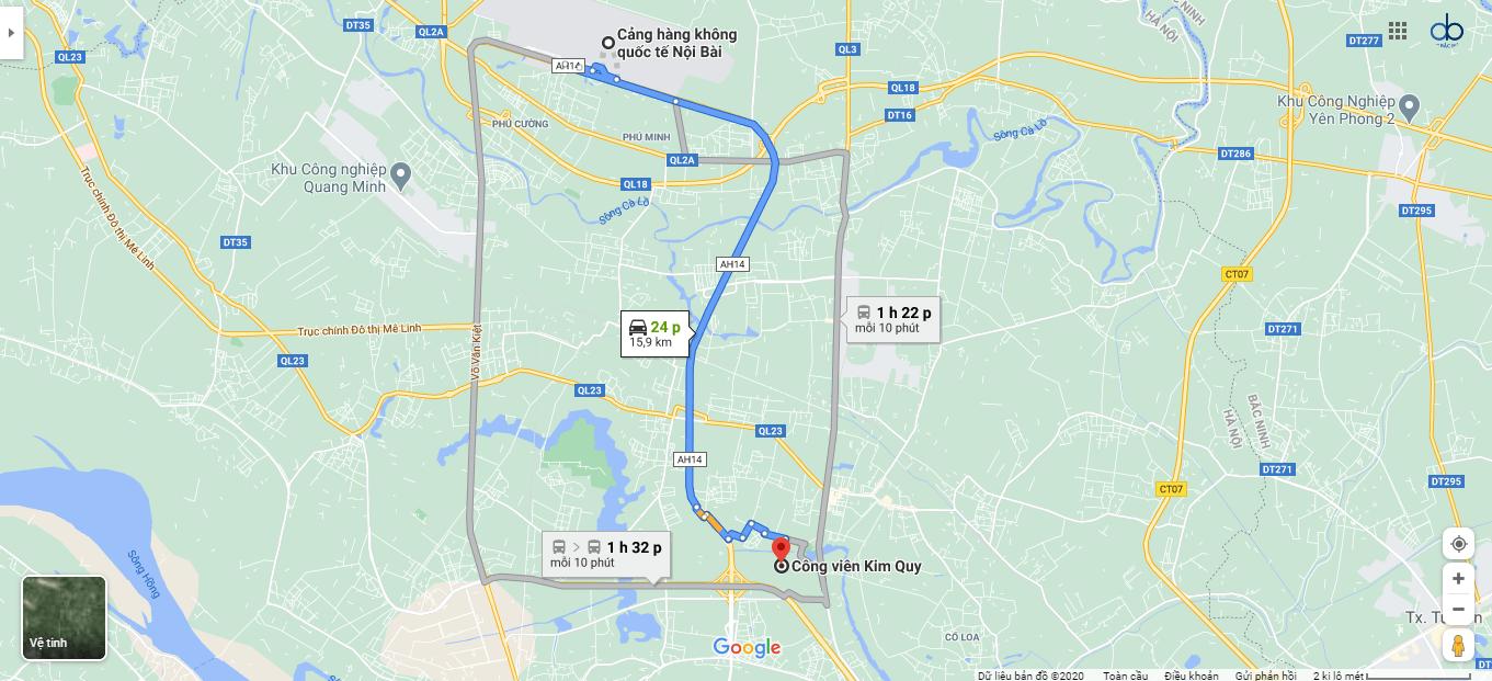 Đường từ sân bay Nội Bài đến công viên Kim Quy.