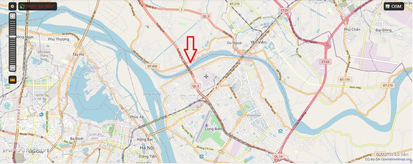 Vị trí cầu Đông Trù trên bản đồ Hà Nội.