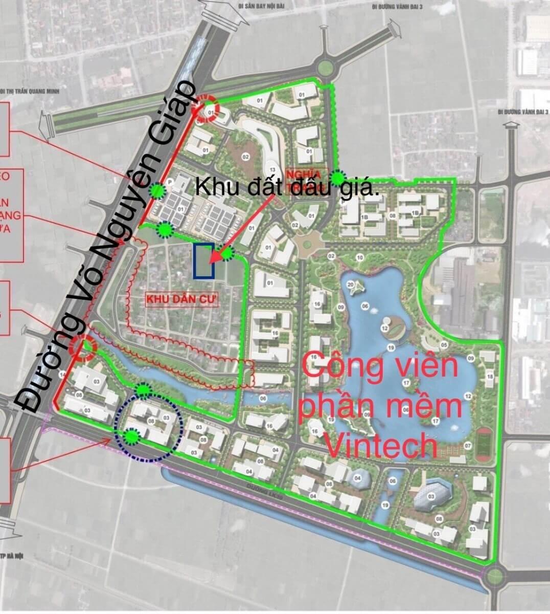 Dự án công viên phần mềm Đông Anh Vintech sẽ được chia thành các phân khu khác nhau.