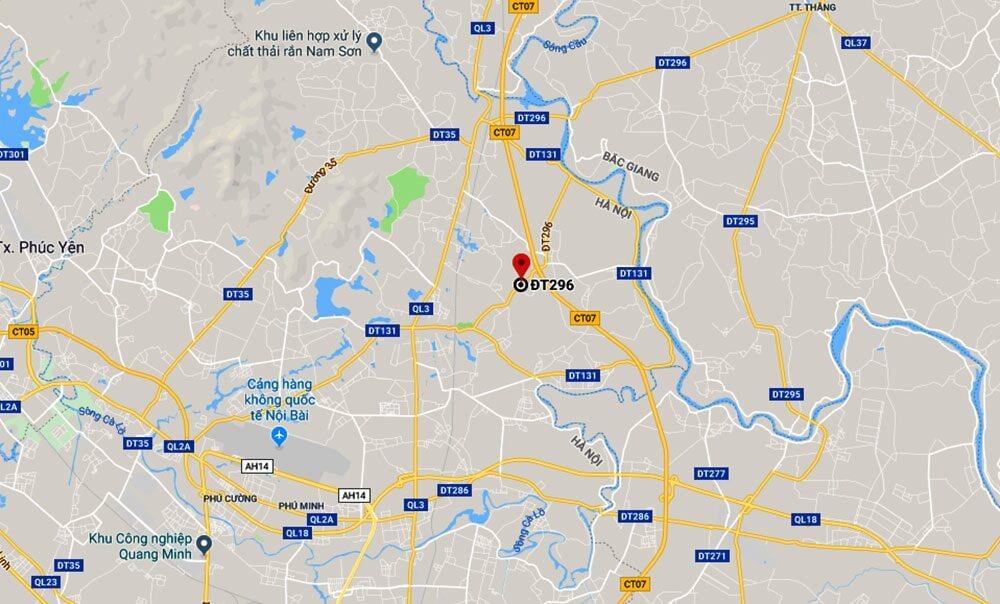 Vị trí của dự án trường đua ngựa Sóc Sơn trên bảng đồ Google Map.