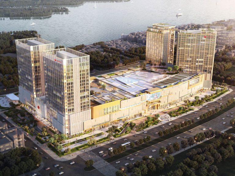 Phối cảnh tổng thể dự án Lotte Hà Nội nằm trên trục đường Võ Chí Công, Phú Thượng, Tây Hồ.