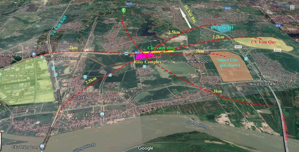 Vị trí có kết nối giao thông tuyệt vời của Kosy Hà Nội Complex.