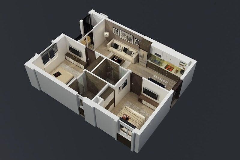 Thiết kế căn hộ Bảo Ngọc City rất thoáng và nhiều ánh sáng ( minh họa ).