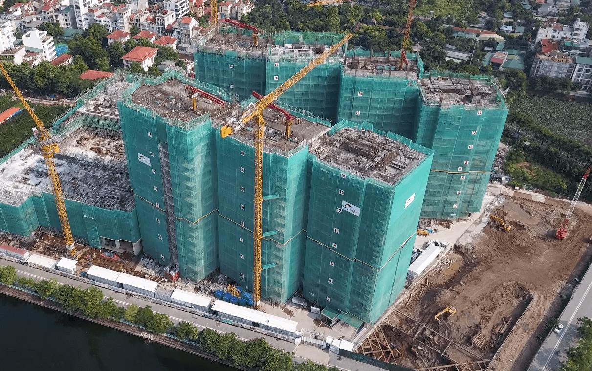 Hiện chung cư Sun Group 58 Tây Hồ đang được thi công đến tầng 17.
