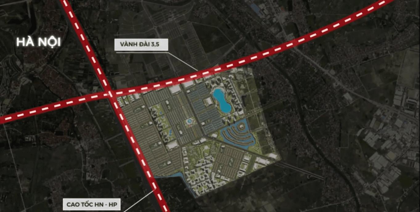 Vinhomes Dream City nằm tại giao cắt trục đường vành đai 3,5 và cao tốc Hà Nội - Hải Phòng.