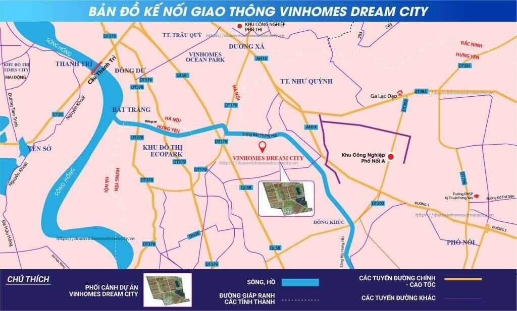 Kết nối giao thông từ Vinhomes Dream City đến các khu vực khác là cực kỳ dễ dàng.