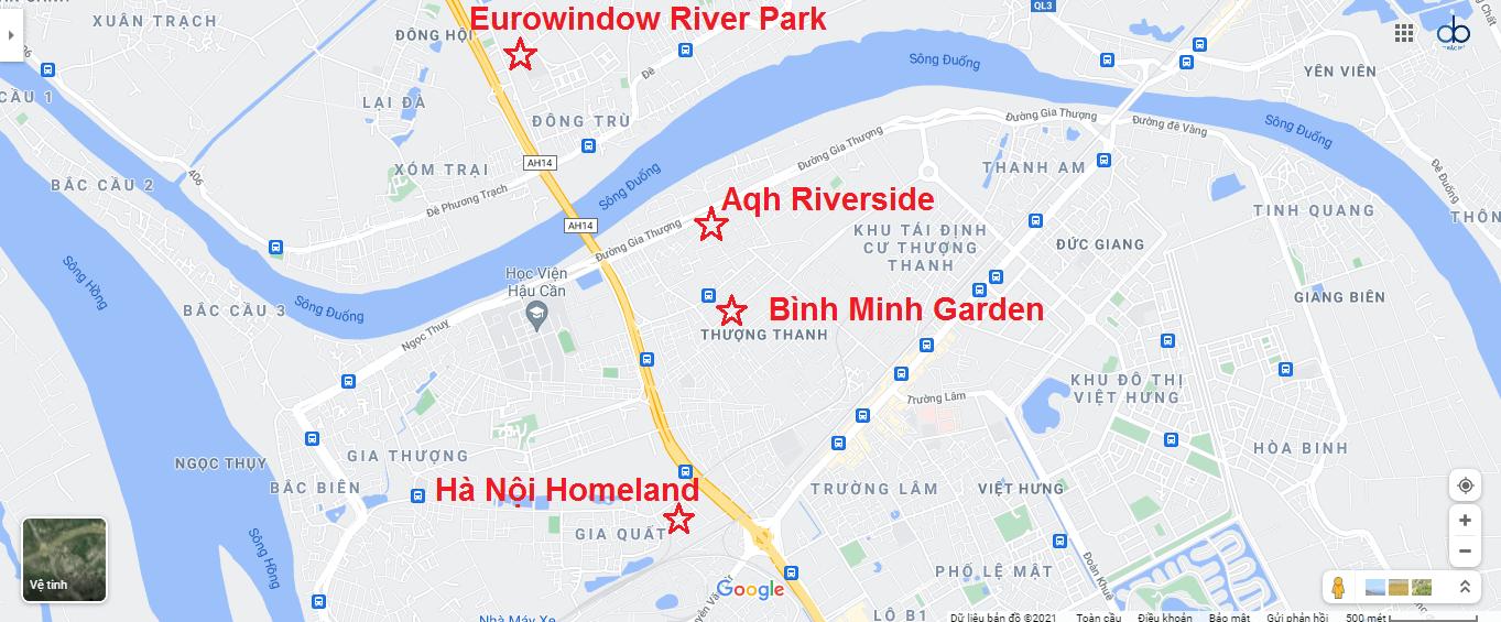 Vị trí các dự án trên bản đồ quận Long Biên.
